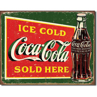 Coke – Ice Cold Green – Large Metal Tin Sign 31.7cm X 40.6cm Genuine American Made