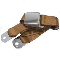 "Universal Seat Belt with Chrome Aviation Style Buckle 60"" - Copper"