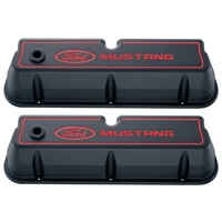 Ford Mustang Die-Cast Alloy Valve Covers Black Crinkle Finish with Red Logo