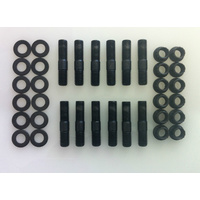 "12 Point Flange Nut, Washer & Stud 3/8"" UNC Black Oxide Set of 12"