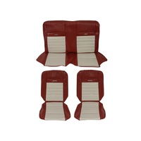 1964 - 1966 Mustang Convertible Pony Upholstery (Bright Red/White)
