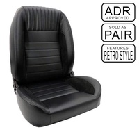 Classic Retro Front Bucket Seats Black Leather & Suede Black Stitching - Pair