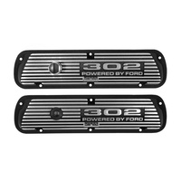 Finned Aluminium Valve Covers 302 Powered By Ford Black Wrinkle