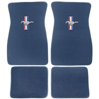 1964 - 1973 Mustang Embroidered Carpet Floor Mats (Bright Blue)