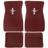 1964 - 1973 Mustang Embroidered Carpet Floor Mats (Emberglow)