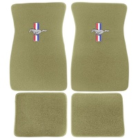 1964 - 1973 Mustang Embroidered Carpet Floor Mats (Ivy Gold)