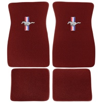 1964 - 1973 Mustang Embroidered Carpet Floor Mats (Maroon)