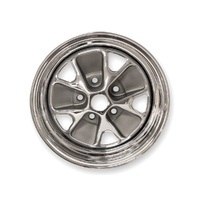 1964 - 1967 Mustang Styled Steel Wheel (14x6 Chrome Rim, Charcoal Paint Center) *CLEARANCE