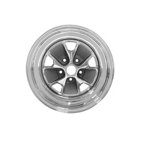 1964 - 1967 Mustang Styled Steel Wheel (15x8 Chrome Rim, Charcoal Paint Center)