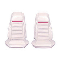 Mach 1 Front Bucket Seat Upholstery (White/Grey Stripe)
