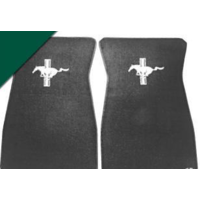 1964 - 1973 Mustang Embroidered Carpet Floor Mats (Dark Green)