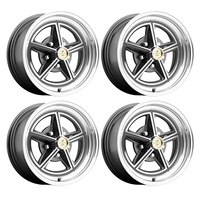 15 x 7 Magstar II Alloy Wheel Charcoal SET 4 with Shelby Cobra Caps & Nuts