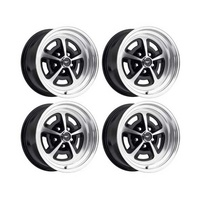 15 x 7 & 16 x 8 Magnum Alloy Wheel Gloss Black SET 4 with Mustang Caps & Nuts