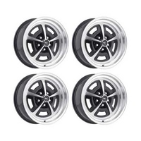 16 x 8 Magnum Alloy Wheel Gloss Black SET 4 with Mustang Caps & Nuts