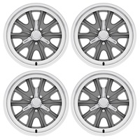 17 x 7 & 17 x 8 Cobra Eleanor Alloy Wheel Grey SET 4 with Spinner Caps & Nuts