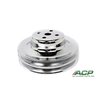 "1966 - 1967 Mustang Water Pump Pulley with AC 2 Groove Chrome 5-13/16"" OD"