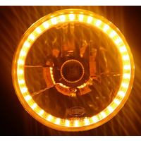 "Semi Sealed Beam Headlight 7"" Multi Surface Reflector Clear Lens H4 Amber LED Halo Pair"