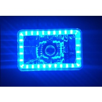"Semi Sealed Beam Headlight 4"" x 6"" Multi Surface Reflector Clear Lens H4 Blue LED Halo"