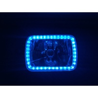 "Semi Sealed Beam Headlight 6"" x 8"" Multi Surface Reflector Clear Lens H4 Blue LED Halo"