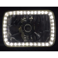 "Semi Sealed Beam Headlight 6"" x 8"" Multi Surface Reflector Clear Lens H4 White LED Halo Pair with Bulbs"