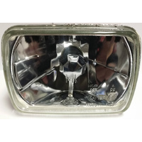 "Semi Sealed Beam Headlight 6"" x 8"" Multi Surface Reflector Clear Lens H4"