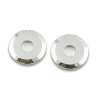 "RetroSound Chrome Metal Dash Washers with ""Tone"" ""More Stations"" 50's Chevy Style - Pair"