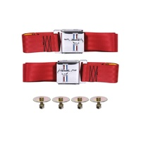 1964 - 1973 Mustang Seat Belt Set with Mustang Emblem (Bright Red, Pair)