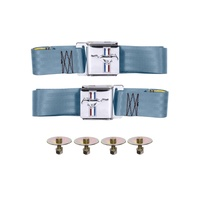 1964 - 1973 Mustang Seat Belt Set with Mustang Emblem (Light blue, Pair)
