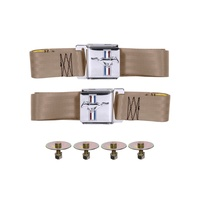 1964 - 1973 Mustang Seat Belt Set with Mustang Emblem (Parchment, Pair)