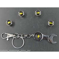 Tyre Valve Caps & Keyring Set Chevrolet Black
